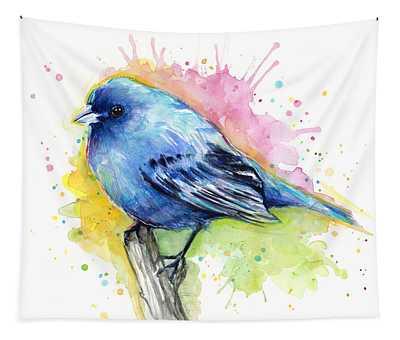 Indigo Bunting Blue Bird Watercolor Tapestry