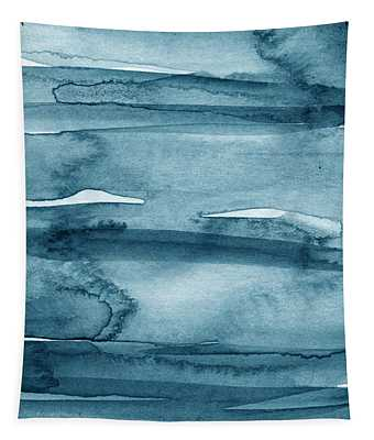 Indigo Water- Abstract Painting Tapestry