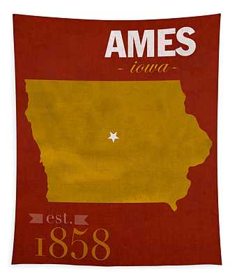 Iowa State University Cyclones Ames Iowa College Town State Map Poster Series No 050 Tapestry
