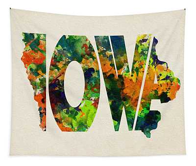 Iowa Typographic Watercolor Map Tapestry