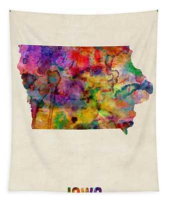 Iowa Watercolor Map Tapestry