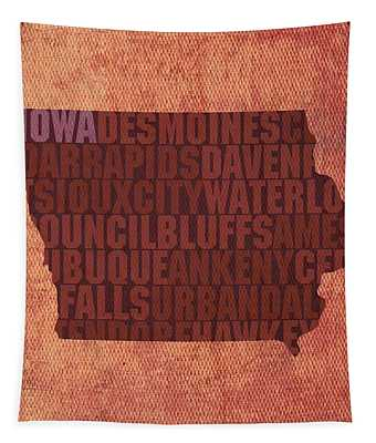 Iowa Word Art State Map On Canvas Tapestry