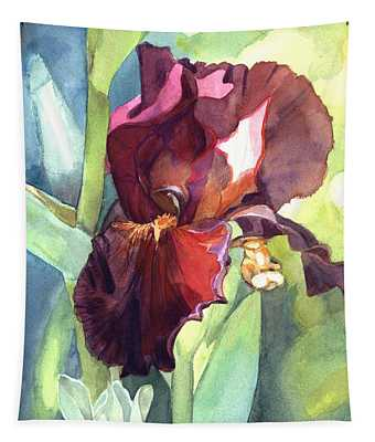 Watercolor Of A Tall Bearded Iris Called Sultan's Palace In Red And Burgundy Tapestry