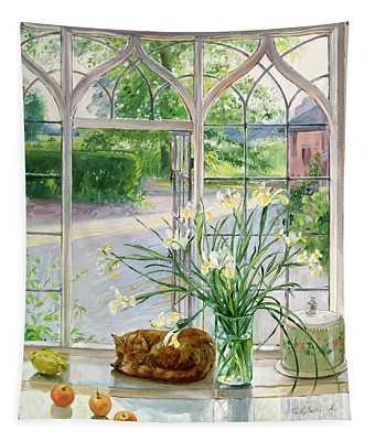 Irises And Sleeping Cat Tapestry