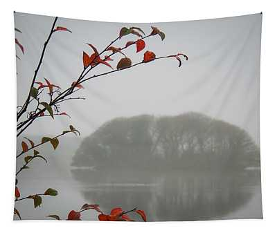 Tapestry featuring the photograph Irish Crannog In The Mist by James Truett
