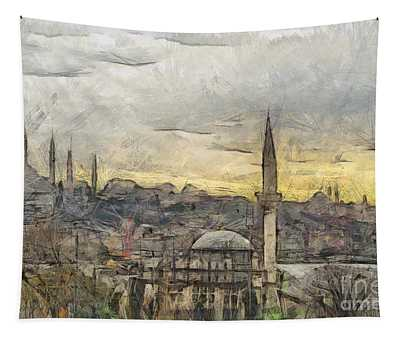 Istanbul Cityscape Digital Drawing Tapestry