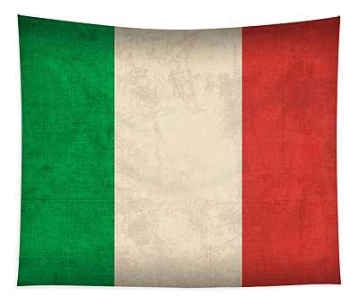 Italy Flag Vintage Distressed Finish Tapestry