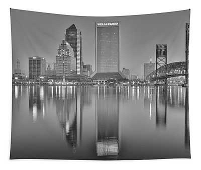 Jacksonville Florida Black And White Panoramic View Tapestry