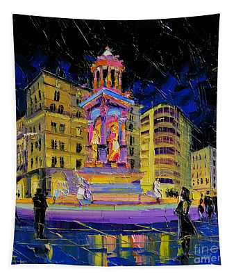 Jacobins Fountain During The Festival Of Lights In Lyon France  Tapestry