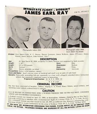 James Earl Ray Fbi Wanted Poster 1968 Tapestry