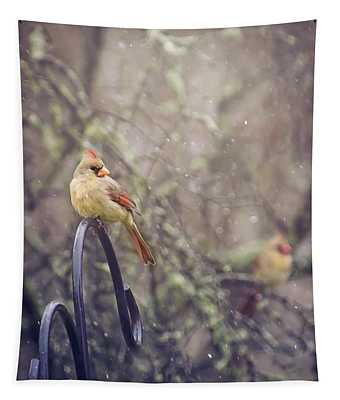 January Cardinals Tapestry