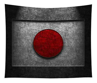 Japanese Flag Stone Texture Tapestry