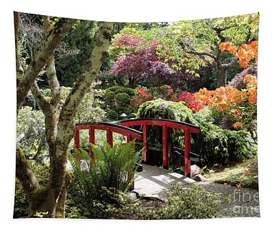 Japanese Garden Bridge With Rhododendrons Tapestry