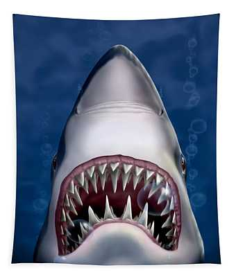 Jaws Great White Shark Art - Square Format Tapestry