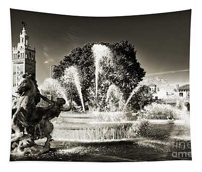 Jc Nichols Memorial Fountain Bw 1 Tapestry