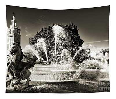 Jc Nichols Memorial Fountain Bw 1 Tapestry