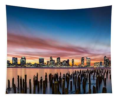 Jersey City Skyline At Sunset Tapestry