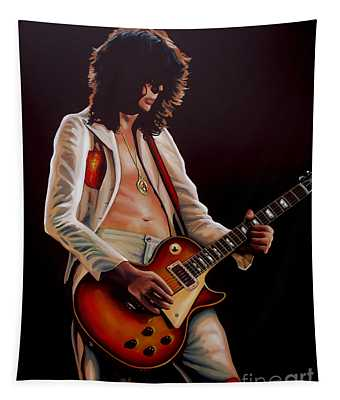 Jimmy Page In Led Zeppelin Painting Tapestry