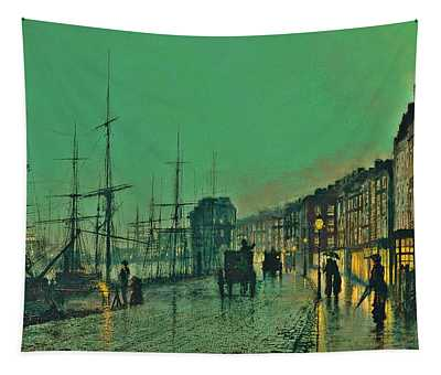 John Atkinson Grimshaw Shipping On The Clyde 1881 Tapestry