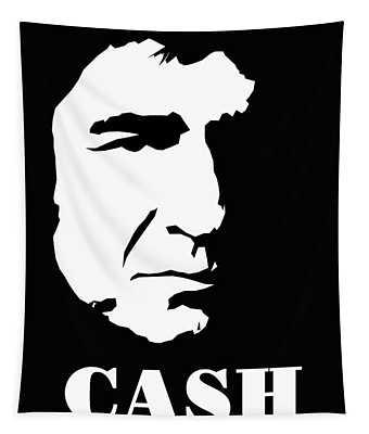 Johnny Cash Black And White Pop Art Tapestry