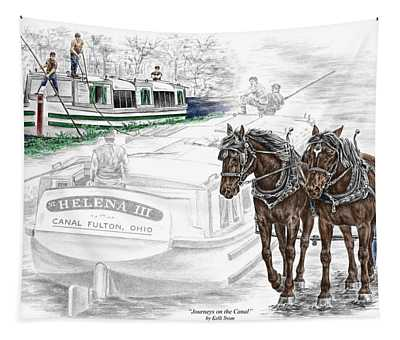 Journeys On The Canal - Canal Boat Print Color Tinted Tapestry