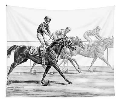 Just Finished - Horse Racing Print Tapestry