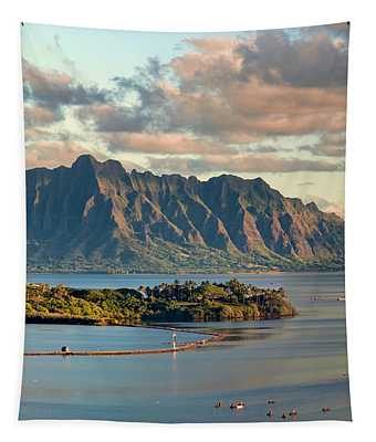 Kaneohe Bay Panorama Mural 2 Of 5 Tapestry