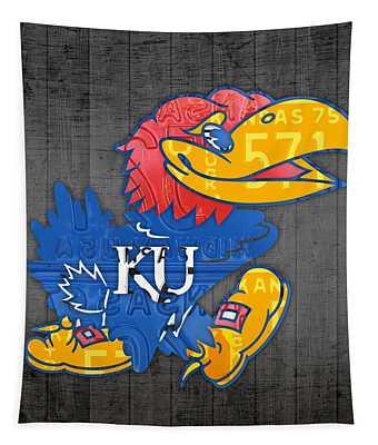 Kansas Jayhawks College Sports Team Retro Vintage Recycled License Plate Art Tapestry