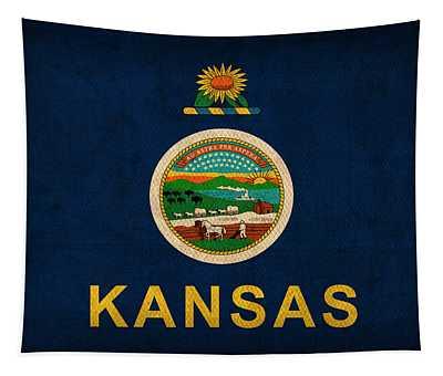 Kansas State Flag Art On Worn Canvas Tapestry
