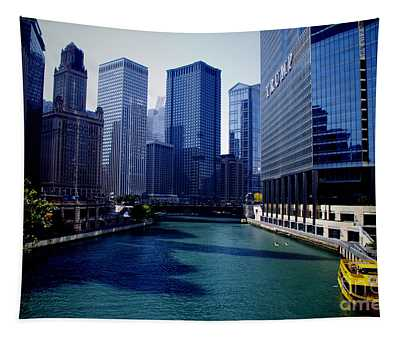 Kayaks On The Chicago River Tapestry