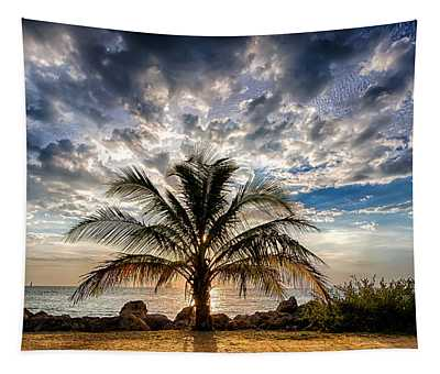 Key West Florida Lone Palm Tree  Tapestry