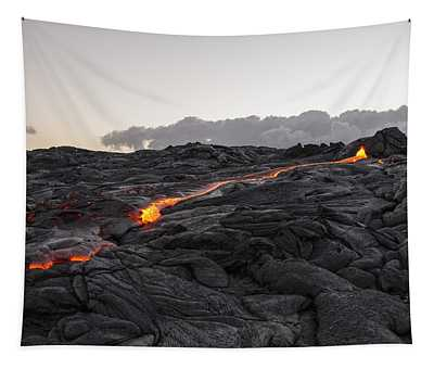 Kilauea Volcano 60 Foot Lava Flow - The Big Island Hawaii Tapestry