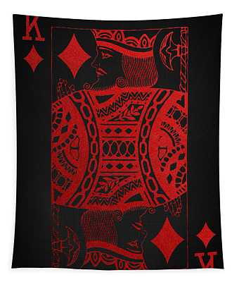 King Of Diamonds In Red On Black Canvas   Tapestry