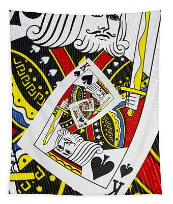 King Of Spades Collage Tapestry