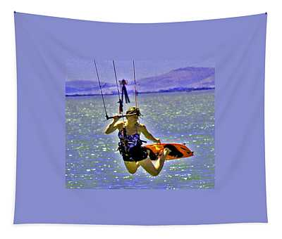 A Kite Board Hoot Tapestry
