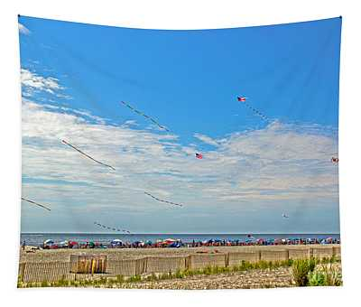 Kites Flying Over The Sand Tapestry