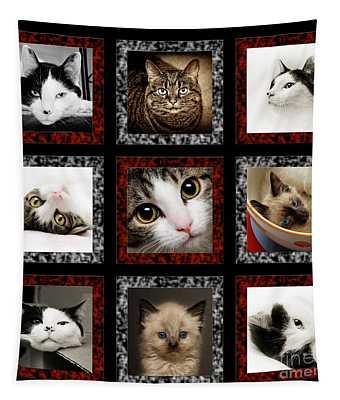 Kitty Cat Tic Tac Toe Tapestry