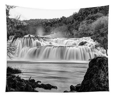Krka Waterfalls Bw Tapestry