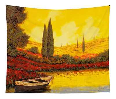 La Barca Al Tramonto Tapestry