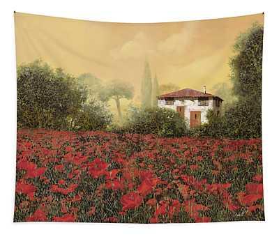 La Casa E I Papaveri Tapestry