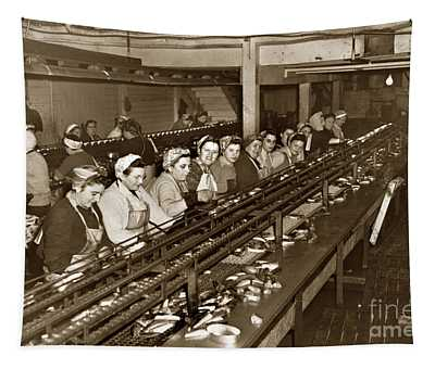 Ladies Packing Sardines In One Pound Oval Cans In One Of The Over 20 Cannery's Circa 1948 Tapestry