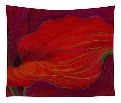 Tapestry featuring the painting Lady In Red by Sandi Whetzel