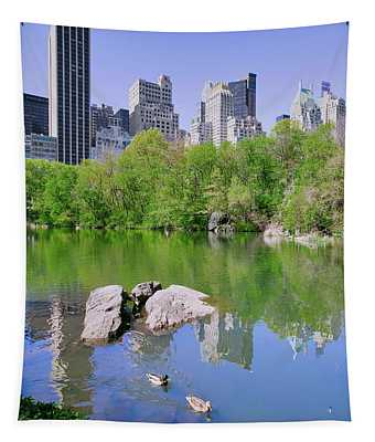 Lake And Two Ducks In Central Park Tapestry