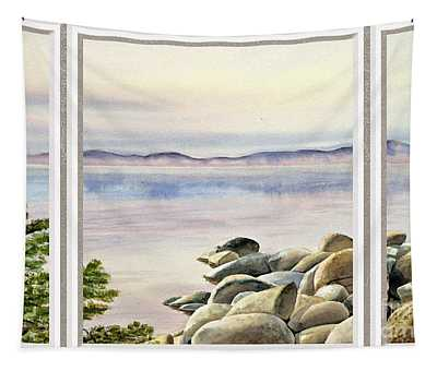 Lake House Window View Tapestry