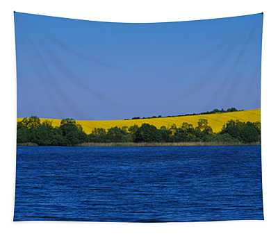 Lake In Front Of A Rape Field Tapestry