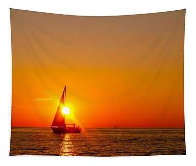 Lake Michigan Sunset Tapestry