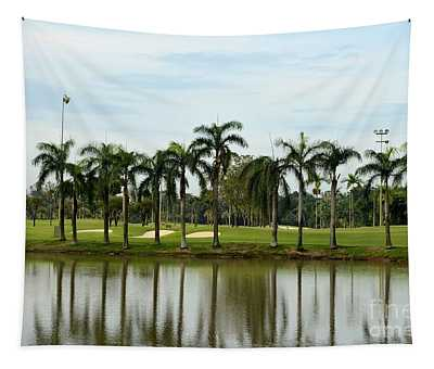 Lake Sand Traps Palm Trees And Golf Course Singapore Tapestry