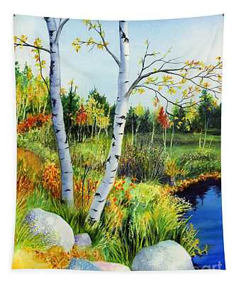 Lakeside Birches Tapestry
