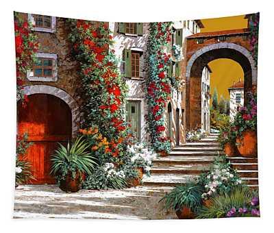 L'altra Porta Rossa Al Tramonto Tapestry
