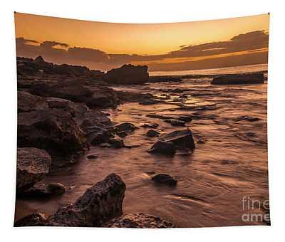 Lanai Rocky Beach Sunset Tapestry